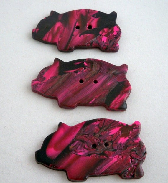 Three pigs button set polymer clay handmade pink and black