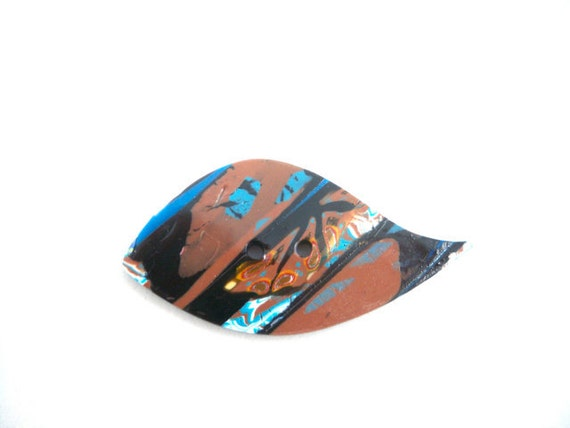 Large leaf button brown and blue polymer clay closure