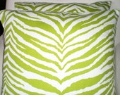 Green Zebra Print Pillow Covers, Decorative Throw Pillows Cushions Lime Green White Zebra Animal Print, Couch Bed Sofa