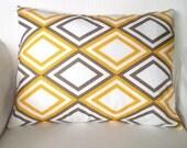 Yellow Taupe White Pillow Cover, Lumbar Pillow, Decorative Throw Pillows, Cushion, Diamond Yellow Taupe White Annie - One 12 x 16 or 12 x 18