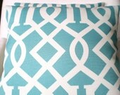 OUTDOOR Pillow Cover Decorative Throw Pillows Cushion Covers Turquoise Cream Trellis Indoor Outdoor Aqua Outdoor Pillow Cover Various Sizes