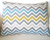 Aqua Gray Citrine Chevron Pillow Cover, Decorative Throw Pillow, Cushion, Aqua Grey Citrine Cream Zig Zag Chevron, One 12 x 16 or 12 x 18