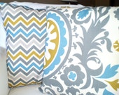 Aqua Gray Pillow Covers, Decorative Throw Pillows, Cushions, Grey Citrine Aqua Cream Suzani  Chevron Zig Zag, Couch Bed, Combo Set 16 x 16