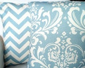 Blue Pillow Covers, Decorative Throw Pillows Cushions Village Blue Cream Damask Zig Zag Chevron, Couch Bed Sofa Pillows, Combo Set 18 x 18
