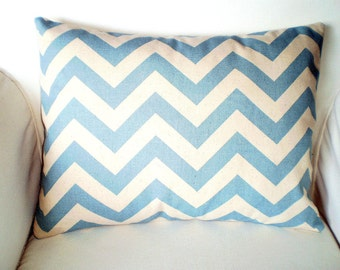Blue Chevron Decorative Pillow Cover, Throw Pillow Cushion Cover, Lumbar Village Blue Natural Zig Zag Chevron, Couch Bed, 12 x 16 or 12 x 18