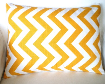 Yellow Chevron Pillow Covers, Decorative Throw Pillow, Cushion Cover, Corn Yellow White Chevron Zig Zag  Lumbar, One 12 x 16 or 12 x 18