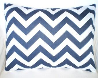 Throw Pillows Cushion Covers Pillows Decorative Pillows Navy White Chevron Zig Zag Lumbar - 12 x 16 or 12 x 18
