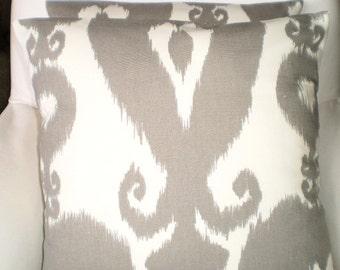 Gray Cream Lumbar Pillow Cover, Decorative Pillow, Throw Pillow, Cushion Cover, Grey Cream Islander Ikat, One 12 x 16