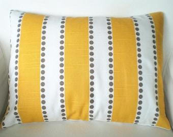 Yellow Lumbar Pillow Cover, Decorative Throw Pillows, Cushion, Yellow White Lulu Stripes Taupe Dots, Stripe Pillows, One 12 x 16 or 12 x 18