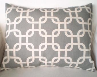 Gray Throw Pillow Covers, Cushions, Grey on Natural Gotcha Handmade Lumbar Pillow, Chain Link Pillow Cover, One 12 x 16 or 12 x 18 Lumbar