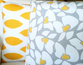 Yellow Gray Pillow Covers, Decorative Throw Pillows, Cushions Grey Yellow White Helen and Yellow Chipper Couch Sofa Set of Two Various Sizes