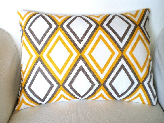 Yellow Taupe Pillow Cover Lumbar Pillow,  Decorative Throw Cushion Cover, Diamond Pattern Yellow Taupe White Annie, One 12 x 16 or 12 x 18