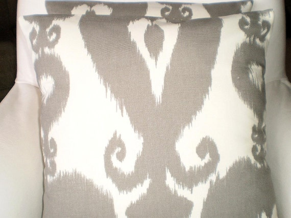 Gray Cream Lumbar Pillow Cover, Decorative Pillow, Throw Pillow, Cushion Cover, Grey Cream Islander Ikat, One 12 x 16