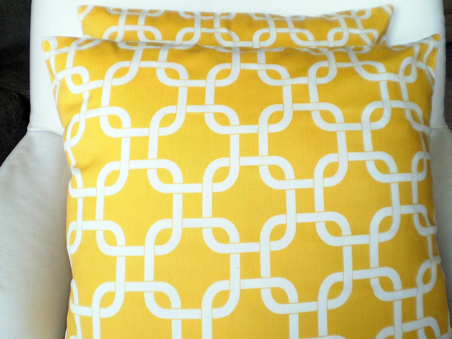 White Decorative Throw Pillow Covers : Yellow White Pillow Covers Decorative Throw by fabricjunkie1640
