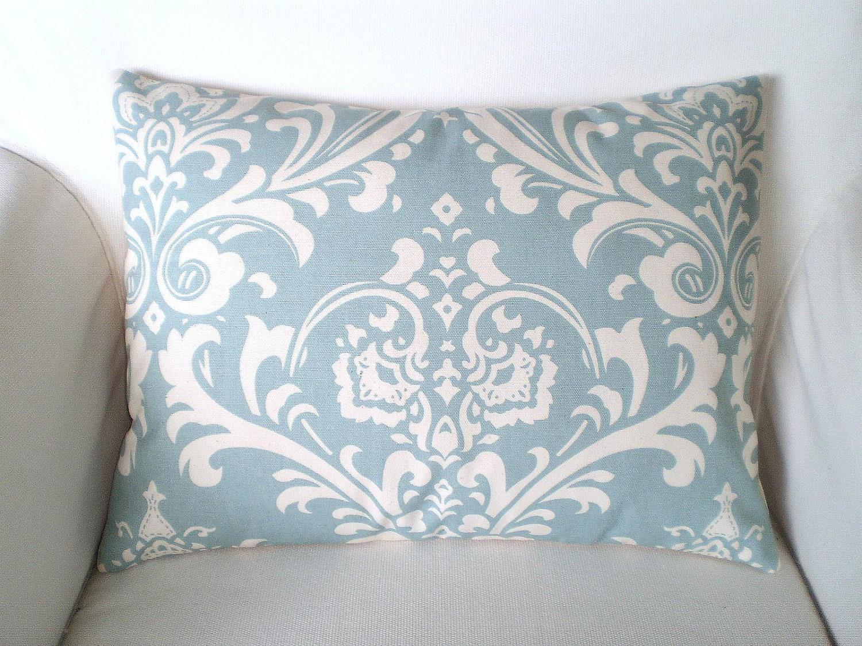 Throw Pillows Damask : Blue Damask Pillow Cover Throw Pillows Decorative Cushion