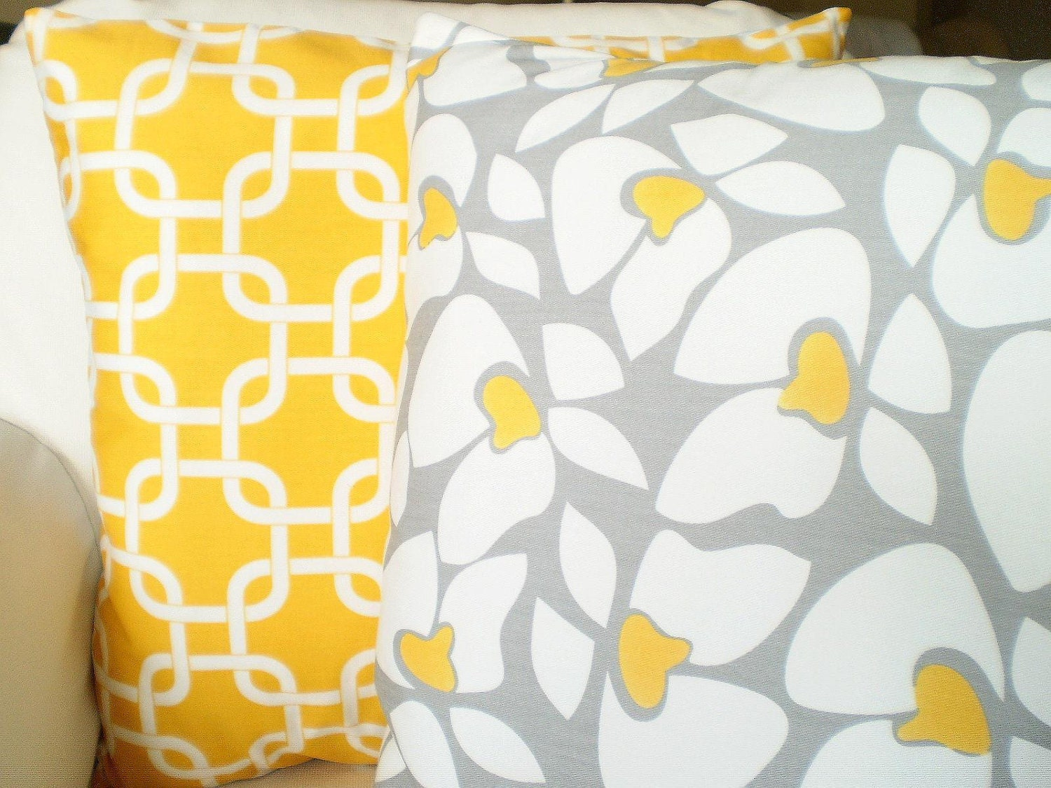 Yellow And Grey Throw Pillow Covers : Yellow Gray Decorative Throw Pillow Covers by FabricJunkie1640