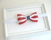 Simple Red, White and Blue Bow, Patriotic Hair Bow, Fourth of July Hair Bow Headband for Newborns, Infants, Babies, Girls and Adults