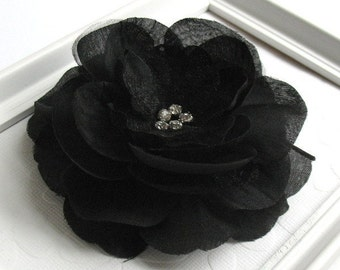 Black Flower Hair Clip, Bridesmaid Hair Clip, Prom, Black Rose Rhinestone Clip Hair Accessory, Large Black Flower Hair Clip
