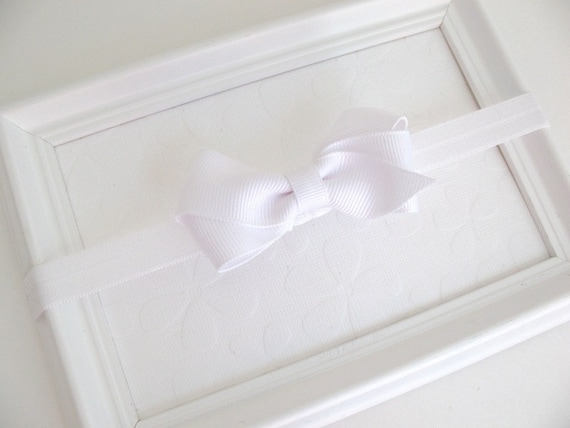 White Hair Bow Headband, Baby Headband, Simple Baby Bow, Baptism Headband, Christening, Toddler Headband, White Bow, Newborn Headband