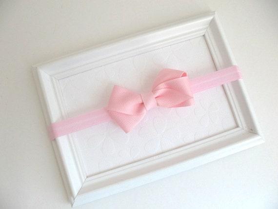 Pastel Pink Baby Headband, Pink Bow Headband, Pink Hair Bow, Infant Headband, Simple Pink Hair Bow, Baby Girl Headband, Newborn Headband