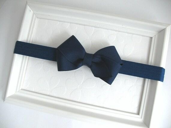 Navy Blue Baby Bow Headband, Nautical Baby Headband, Infant Headband, Light Navy Blue Hair Bow, Girls Bow Headband, School Uniform Bows