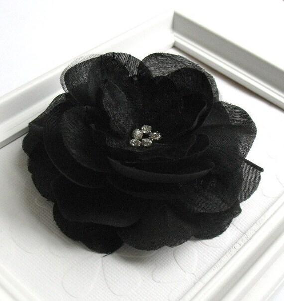 Black Flower Hair Accessory J7213: Black Flower Hair Clip Bridesmaid Hair Clip Prom Black Rose