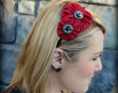 Red Jeweled Double Flower Headband
