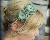 Adult Headband - Soft Sage Green Double Flower Headband for Women and Girls - RufflesAndFringe
