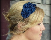 Headband for Women, Navy Blue Rosette Trio Headband for Adults and Girls