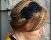 Adult Headband, Shabby Chic Bow in Black for Women and Girls