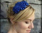 Headband for Women, Royal Blue Rosette Trio Headband for Adults and Girls