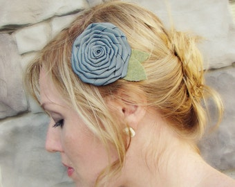 Charcoal Grey Folded Rose Hair Clip for Adults and Girls