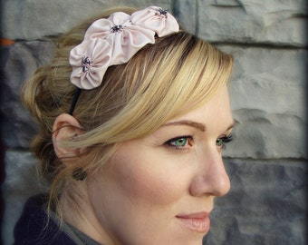 Blush Pink Rosette Flower Headband for Adult and Girl