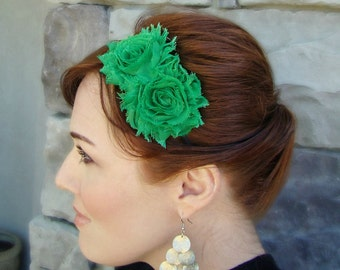 Green Shabby Flower Headband for Women and Girls