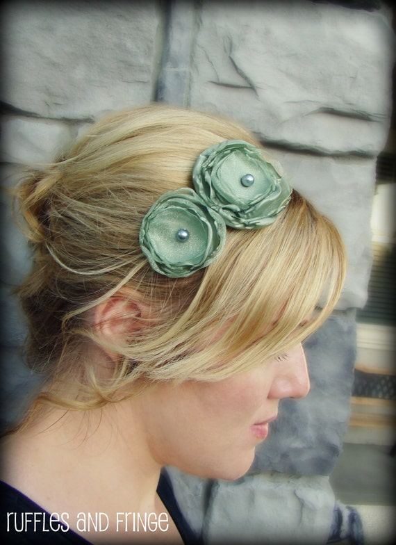 Adult Headband - Sage Green Double Flower Headband for Women and Girls