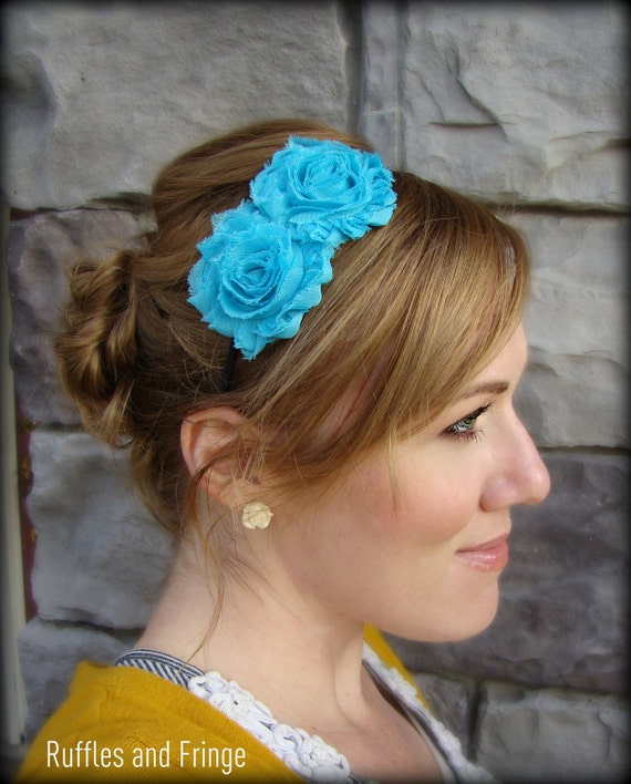 Shabby Chic Headband in Turquoise Blue for Women and Girls