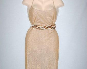SALE 15% OFF/ 1990s Flirty Gold Dress by Faviana