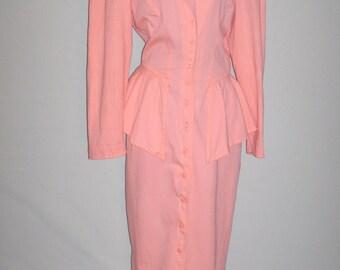 Vintage 80s Peachy Pink Layered Dress/ sz 11/12