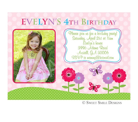 1st Birthday Quotes For A Girl: Items Similar To Photo Birthday Invitation, Printable