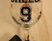 Drew Brees Saints Wine Glass