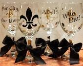 Set of 4 Saints Themed Wine Glasses