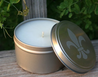 8 oz Soy Fleur de Lis Candle Tin/Any Scent