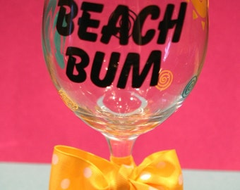 Beach Bum Wine Glass