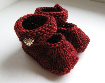 Made to Order Hand Knit Ruby Red Merino Wool Mary Jane Booties, 0-6 Months