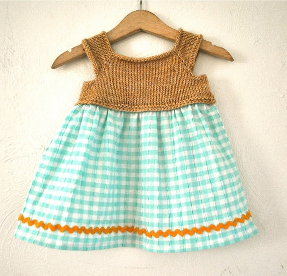 Sea Green Gingham Babydoll Sundress Hand Knit Merino Wool Bodice with Cotton Skirt 6-12 months