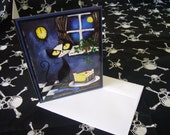 Corpsepaint Kitty - Midnight Snack - 1 heavy metal greeting card