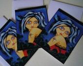Goth Girl - Eye of Horus - set of 3 gothic postcards