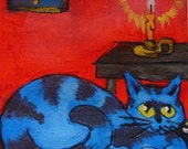 Cat and Candle - Gothic Kitten ACEO original