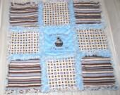 Brown Blue Polka Dot Stripe Puppy Baby Boy Minky Mini Rag Quilt Lovey