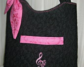 Music Tote Purse Quilted Embroidered Personalized Black Pink